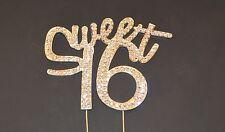 """Sweet Sixteen"" Crystal Rhinestone Silver Cake Topper"