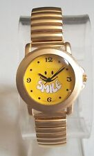 Women's Stretch Band SMILE Happy Face Gold Finish Fashion Wrist Watch