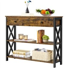 Industrial Console Table Hallway Table with Drawer and Shelves for Living Room