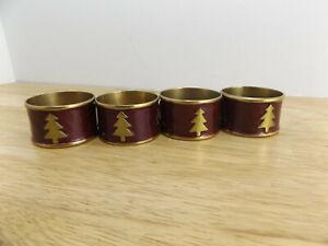 4 VINTAGE CHRISTMAS TREE NAPKIN RINGS SOLID BRASS WITH PURPLE ENAMEL