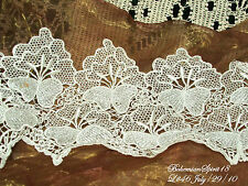 Vintage Embroidered WHITE FLOWERS LACE TRIMMING BY THE FOOT 7'' W old/New Stock