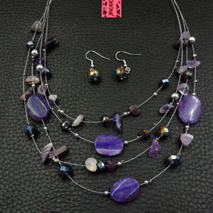 Betsey Johnson Fashion Jewelry Noble Purple Gemstone Choker Necklace Earring Set