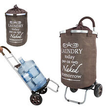 dbest products Laundry Bag Hamper Trolley Dolly with Wheels, Brown (Open Box)