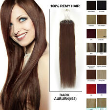 """16""""-26""""Easy Loop Micro Ring Remy Human Hair Extensions Straight AAAA+ 100s"""