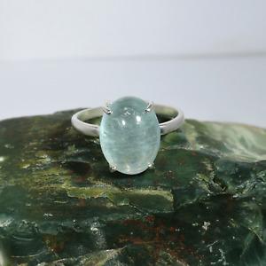 925 Sterling Silver Blue Aquamarine Gemstone Ring Fine Silver Jewelry