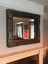 Large Mirror chunky rustic reclaimed timber wood  furniture storage dark oak wax