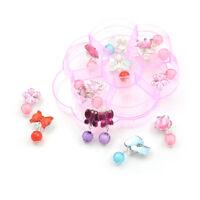 7Pairs/Box Lovely Earrings Clip-On No Pierced Pendant Design For Children Kid UK
