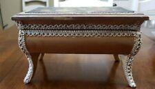 Vintage Fabric Padded Wood Music Jewelry Box Japan Lace Trim