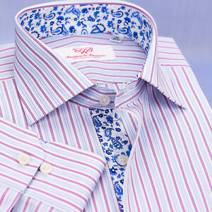 Pink Striped Blue Paisley Business Dress Shirt Floral Button Cuff Designer Style