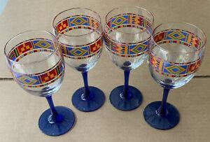 Vintage Avon Kente Pattern Cobalt Stem Water / Wine Goblet Made In France