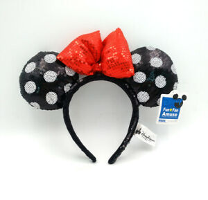 Disney Parks Minnie Mouse Ears Cute Mickey Spots Black Sequins Red Bow Headband