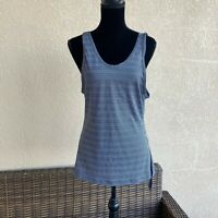 Womens Athleta Max Out Tank Side Tie Knot Navy Stripe Size Small
