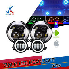2X 7''inch 60W RGB Halo Angle Ring Bluetooth LED Headlight Jeep Wrangler JK