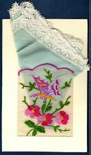 Embroidered SILK Postcard & SWEETHEART Handkerchief ~ BUTTERFLY & FLOWERS ~ WWI