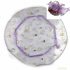 50x Hot Christmas Round Purple Organza Bag Wedding/​Jewelry Packing Gift Bags L