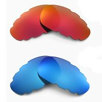 New Walleva Polarized Fire Red + Ice Blue Vented Lenses For Oakley Juliet