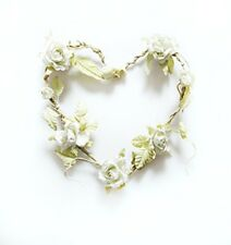 Sass & Belle Wedding White Rose Heart Shaped Wreath Hanging Decoration 23x20cm