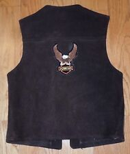 ~VINTAGE~ WOMENS SUEDE LEATHER KAWASAKI MOTORCYCLE FRINGE VEST EAGLE PATCH XS S
