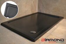 800x800 BLACK MATT Square Stone Slimline Shower Tray 40mm inc Waste