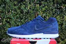 NIKE AIR PEGASUS NEW RACER PRM SZ 8 OBSIDIAN BLUE WHITE GREY 724270 401