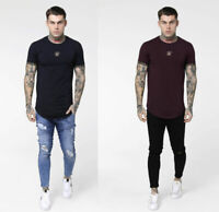 SikSilk Mens Short Sleeve Crew Neck Scope Cartel T-Shirt Black Burgundy Gold