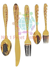 30 PC GLAMOUR STAINLESS STEEL CUTLERY SET IN GOLD KITCHEN SERIES