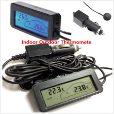 12V LCD Digital Temperature Meter Indoor Outdoor Sensor Car Auto Thermometer
