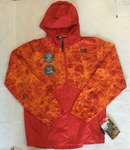 NWT The North Face Youth Sz L 14-16 Red Orange Flurry Wind Windbreaker Hoodie