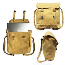 Thick Canvas Rucksack/Backpack Laptop Satchel Bag - Military/Retro