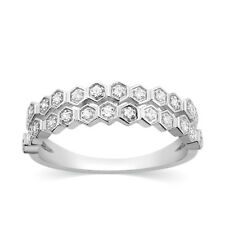 1/6 Ct Diamond Stackable Band 14k White Gold 2 Row Wedding Anniversary Ring