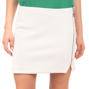 RELISH Mini Straight Skirt Size L Stretch Ivory Quilted Asymmetric Full Zip