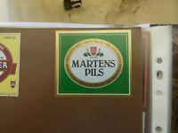 VINTAGE BELGIUM BEER LABEL. MARTENS BREWERY - MARTENS PILS BEGLIAN BEER GREEN