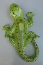 "Lizard Gecko ceramic pottery green figure wall or table 10"" green glaze cute!"