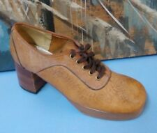 Vtg Womens Orchids Brown Leather Mesh Oxford Shoes size 6.5