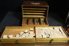 Antique MahJong Set in Wooden Box 150 Tiles + Betting Coins Fair-Good Condition