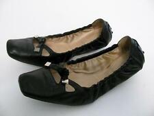 TOD'S BLACK LEATHER BALLERINA BALLET FLATS BOW TIE SQUARE FRONT DRIVER SHOES~8.5