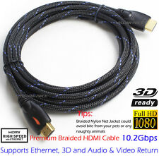 2x Braided 4K HDMI to HDMI Cable 15FT Protective Nylon Jacket,Ethernet,3D,Audio