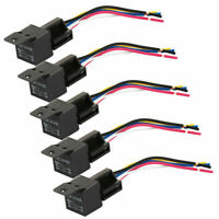 5X 12V 40A 5 Pin Relay With Socket Holder For Car Truck Van Motorbike Boat