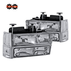 94-98 GMC Suburban Yukon Truck Headlights +Turn Signal + 4pc Corner Chrome Clear
