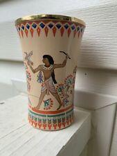 "RARE? Vintage Staffordshire Enamel Cup Egyptian Pharoh Goblet 4"" Small Tumbler"