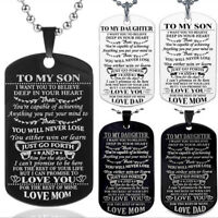 """Personalised """"To My Son My Daughter"""" ID Tags Necklace Engraved MOM DAD Love Gift"""