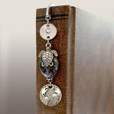 Bookmark Earth Theme Personalized Blue Green Stone Sea Turtle Silver Pl GIFT