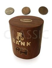 Wooden ✿ Oval Shape Coin Box Piggy Money Bank Black Elephant ✿ Hand made Decor