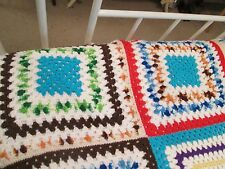 Hand Knit Large Cottage Cozy Colorful Granny Squares Afghan Twin Spread Sz Throw
