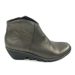 NIB Fly London Womens Ankle Boots Idra Metallic Coffee Bronze EUR 38 US 7.5-8
