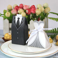 50/100Pcs Wedding Favor Gift Candy Boxes Bag Party Decoration Groom Bride Ribbon