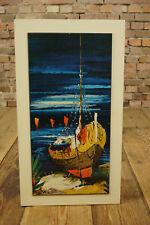 60er Ölbild Retro Bild Mid-Century Vintage Schiffe Boote Öldruck Deko 50er