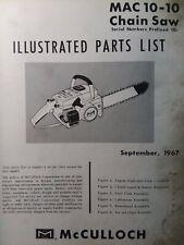 Mcculloch Chain Saw Mac 10 10 Prefix 10 Parts Manual 2 Cycle Gas Chainsaw 1967