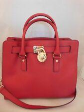 Michael Kors Red Saffiano Leather Large Hamilton Tote Shoulder Handbag