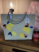 AUTHENTIC LARGE Kate Spade Ash Straw Lemon Zest ZIP TOP STRAW / leather Tote Bag